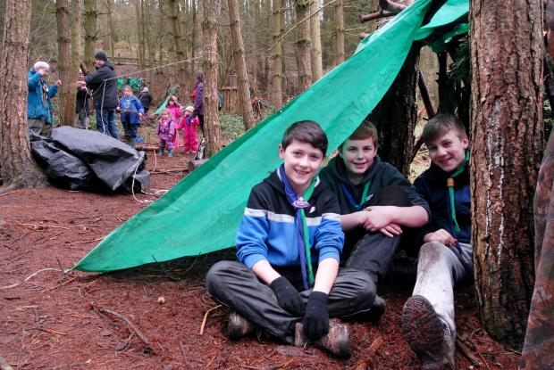 Hasbury scouts Harvey Williams, aged 11, Jack Parton, 13, and Jack Elliott, 14, building dens in the Clent Hills. (Buyphoto 081437M)