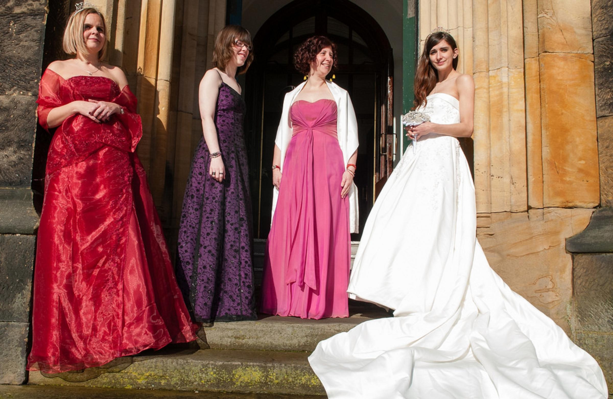 Modelling some of the wedding outfits for sale, left to right - Kerry Payne, Sophie Byatt, Nikki