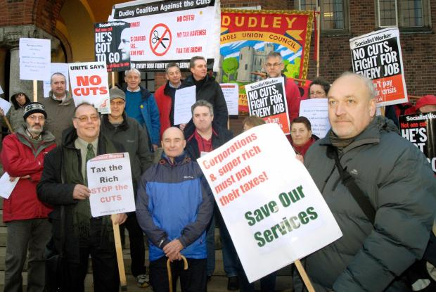 Coalition Against Cuts campaigners at Dudley Council House are calling for new leadership at the authority
