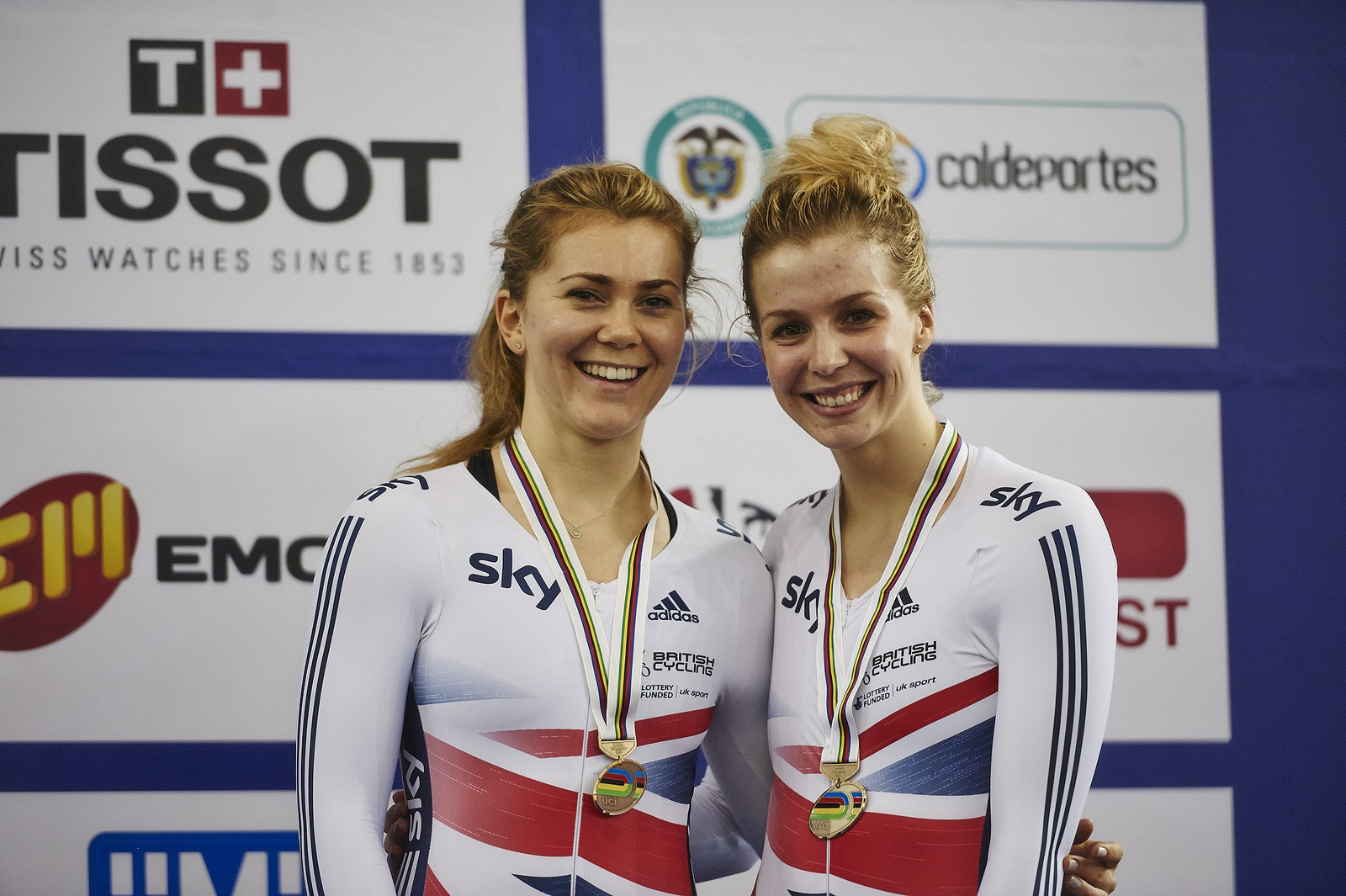 Jessica Varnish (left) and Becky James with their bronze meda
