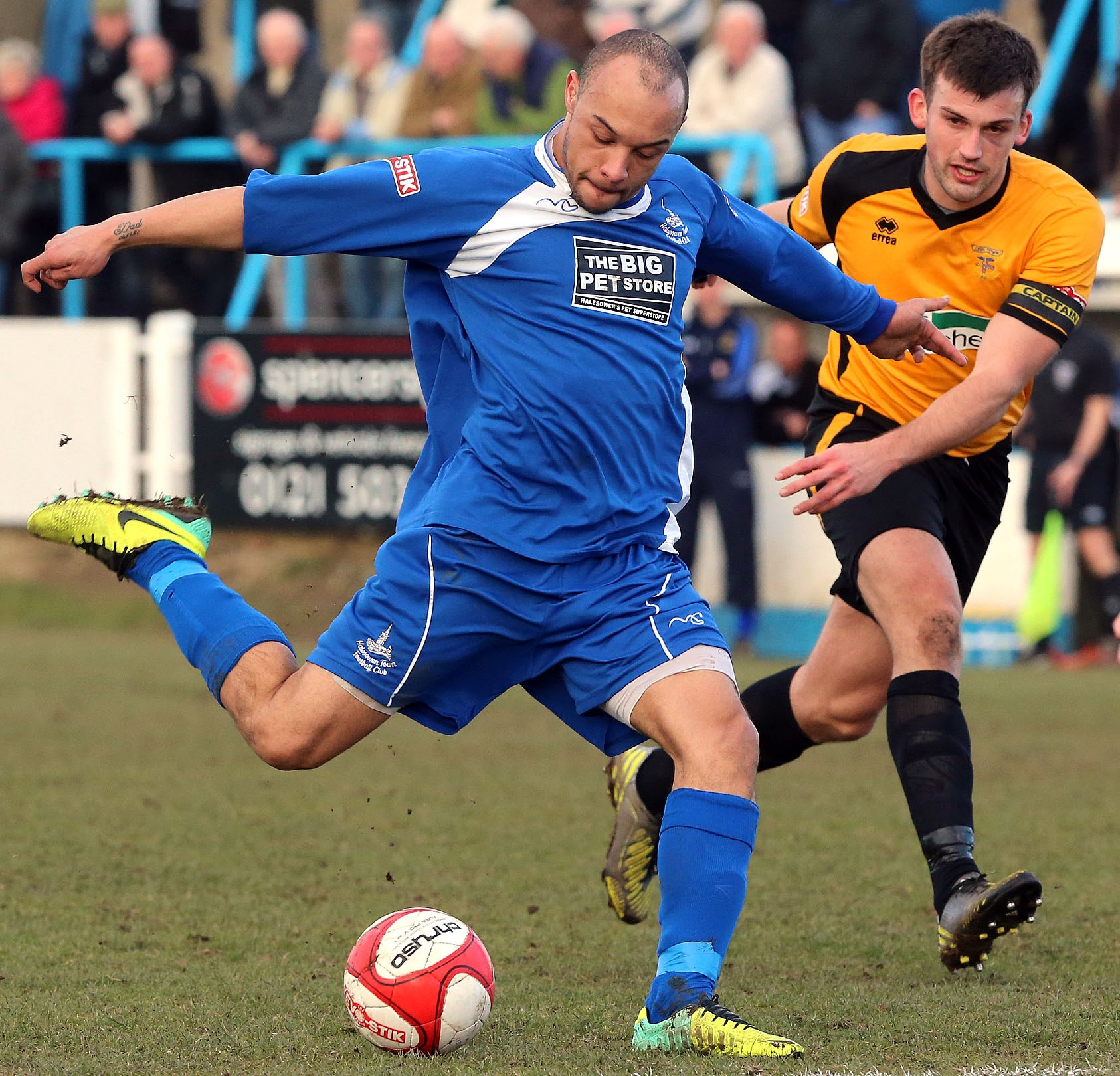 Halesowen's Aaron Forde in action against Leek. Picture: JON HIPKISS