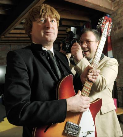 Dave Francis, as a John Lennon lookalike, and Matt Webb, who will be playing Davey the journalist in the Mayhem play. (buyphoto 4487759)