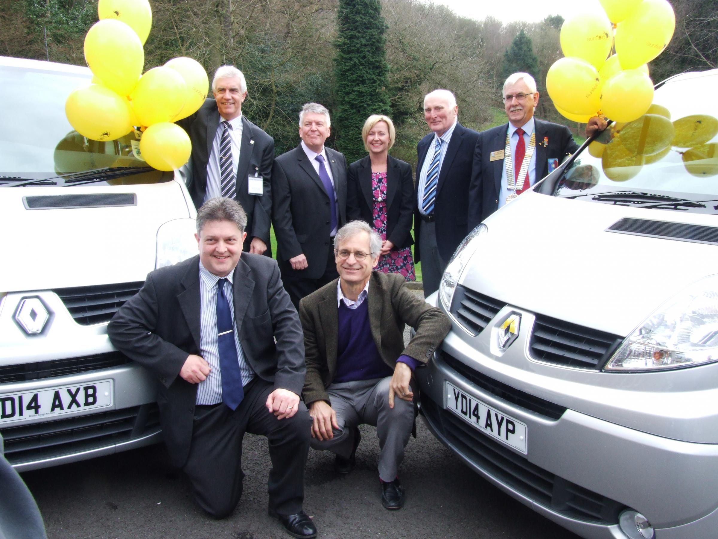 Front l-r - Sunfield's Ian Jones and CEO Michael Frosch; back l-r - Steven Jones (Halesowen & Rowley Regis Rotary), Alan Bowler (Rotary), Theresa Gregory (Barclays), Mike Brown (Dreamland Bedding), Bryan Carpenter - Rotary district governor.