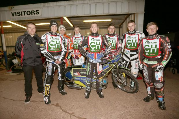 Halesowen News: Cradley Heathens are ready for a new season. Will Pottinger, manager, will riders Steve Worrall, Matt Williamson, Max Clegg, Paul Starke, Danny Phillips, Tom Perry and Nathan Greaves. Pic: John Hipkiss.