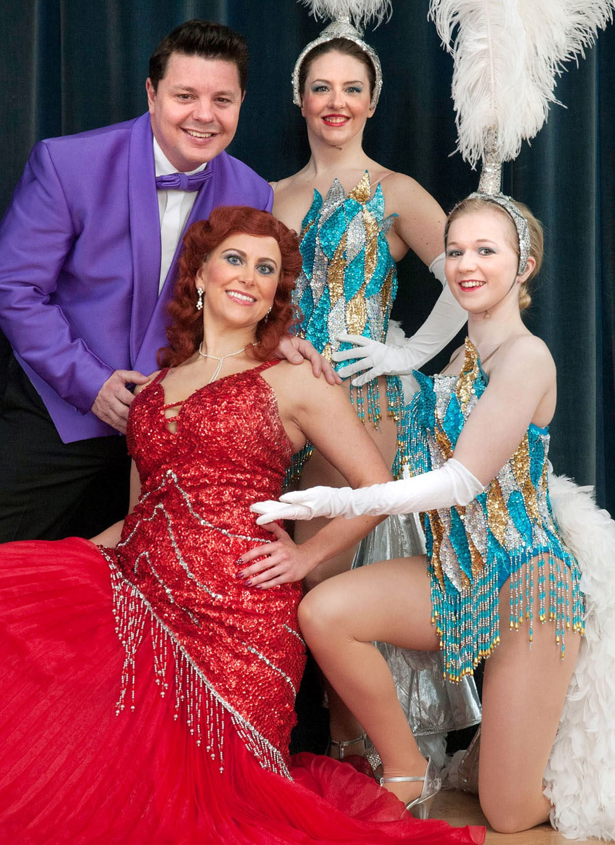 L-r - Mitchell Bastable as Tony, Fleur Petford as Lola, Toni Oakley and Beth Henwood as showgirls. Buy photo: 141413MH