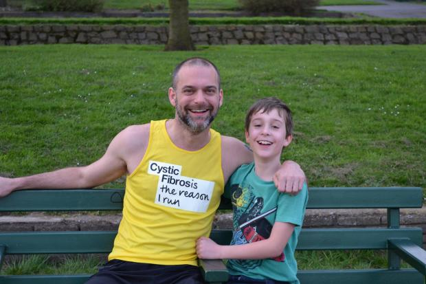 Halesowen News: London Marathon runner Matt Johnson and son Harry