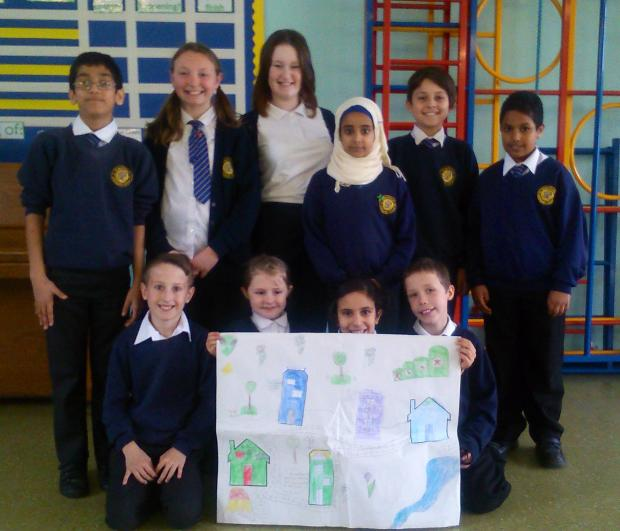 Caslon's business brains (Back l-r Nabeel Iqbal, Lydia Fletcher, Maria Bradley, Thanei Hamed,  Shakiel Bloomer, (all 10), and  Yusef Saleh, (9). (Front from left) Connor Gethen, (10), Paige Williams, (9), Nabila Ali, (10). and Terry Billingham (10).