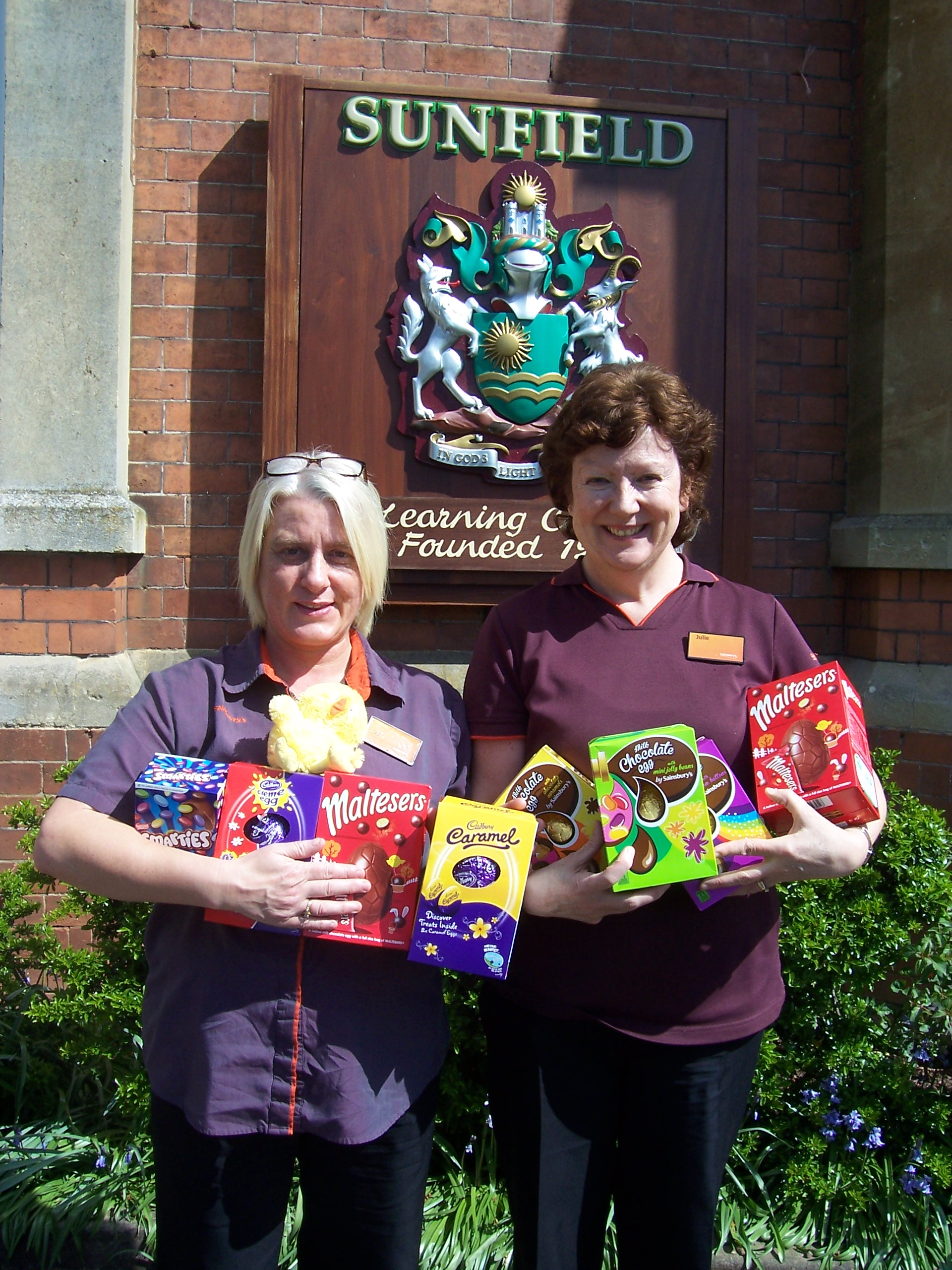 Delivering the eggs l-r Val Morgan, customer services manager and Julie Bate, PR ambassador for the Amblecote store.