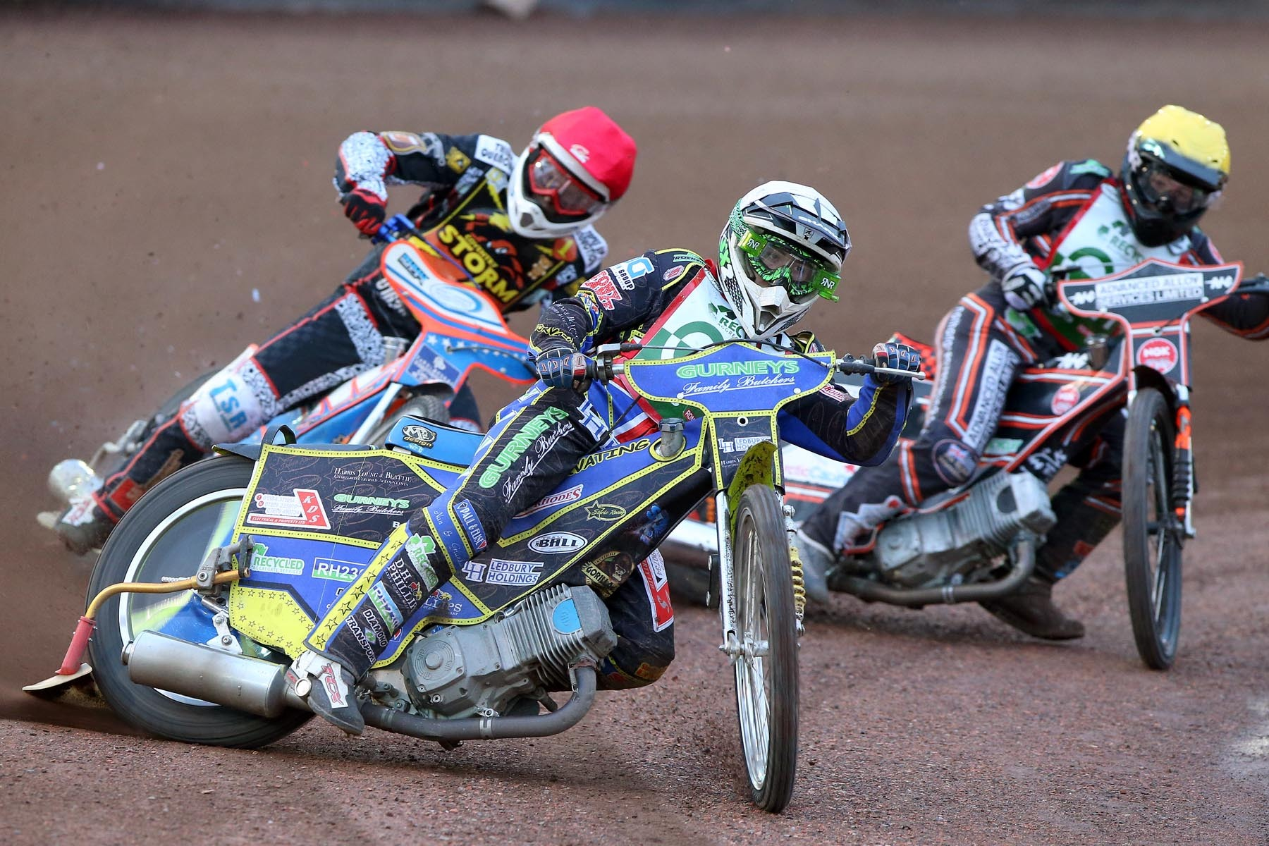 Cradley riders Paul Starke and Nathan Greaves take on Stefan Nielsen for Coventry Storm