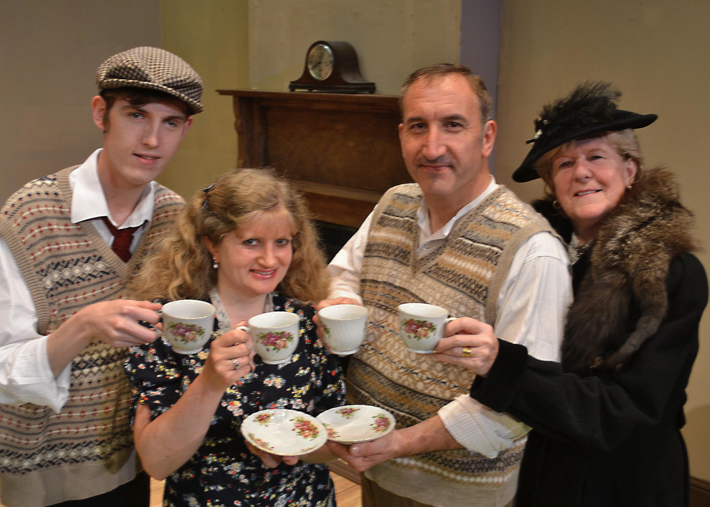 This Happy Breed: Ashley Robinson as Reg Gibbons, Sue Wyld-Bennett as his mother Ethel, Roger Saunders as father Frank and Anita Peakman as Mrs Flint.