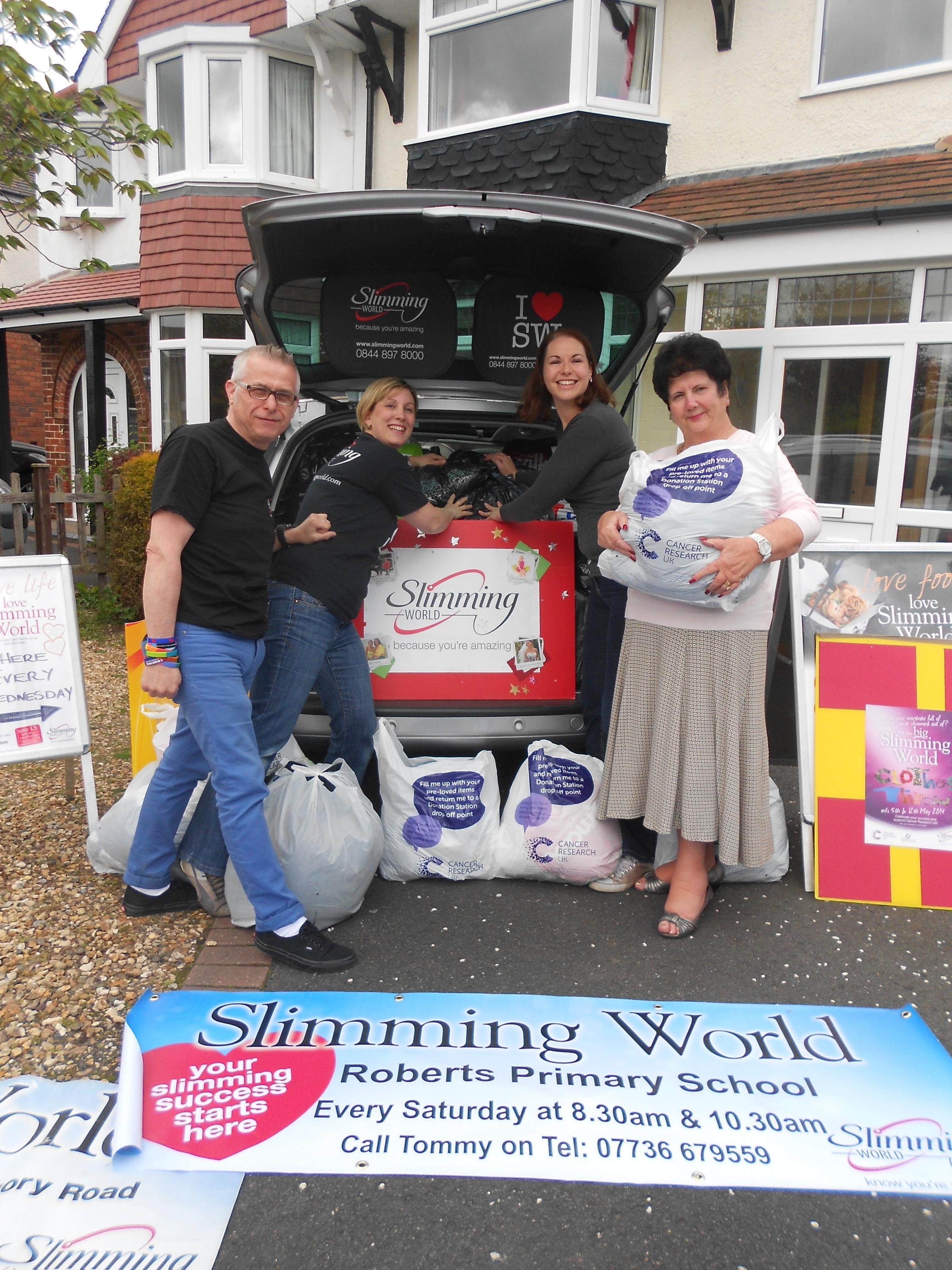 Slimmers with their donations: l-r Tommy Cook, Caroline Pitt, Laura  Wade and Ann Blundell.