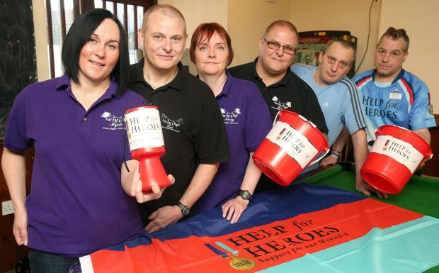 Jaspers fundraiser (from left) HeavenlE Star for a Night team Hyda Wilkinson, Lee Pearson, Mary Ruston and Kevin Pearson, with landlord Paul Mole and West Midlands Help for Heroes co-ordinator Darren Gethin.