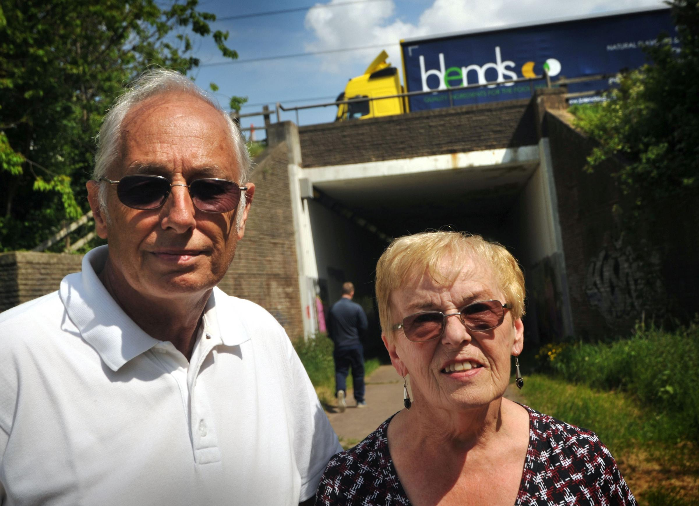 We want fencing: Paul and Rose Edmonds at the M5 motorway underpass.