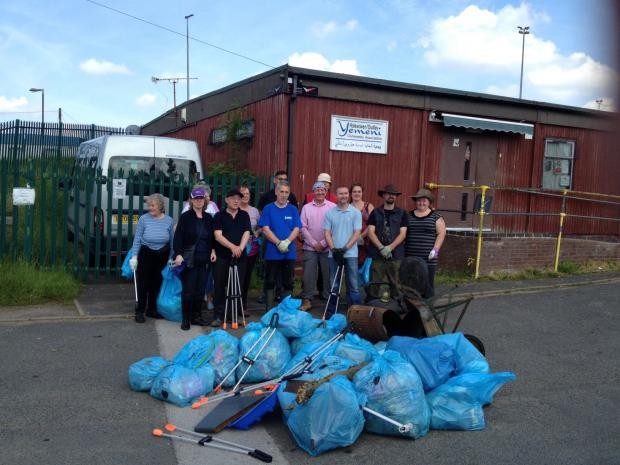 Clean up: The litter pickers with all the rubbish collected