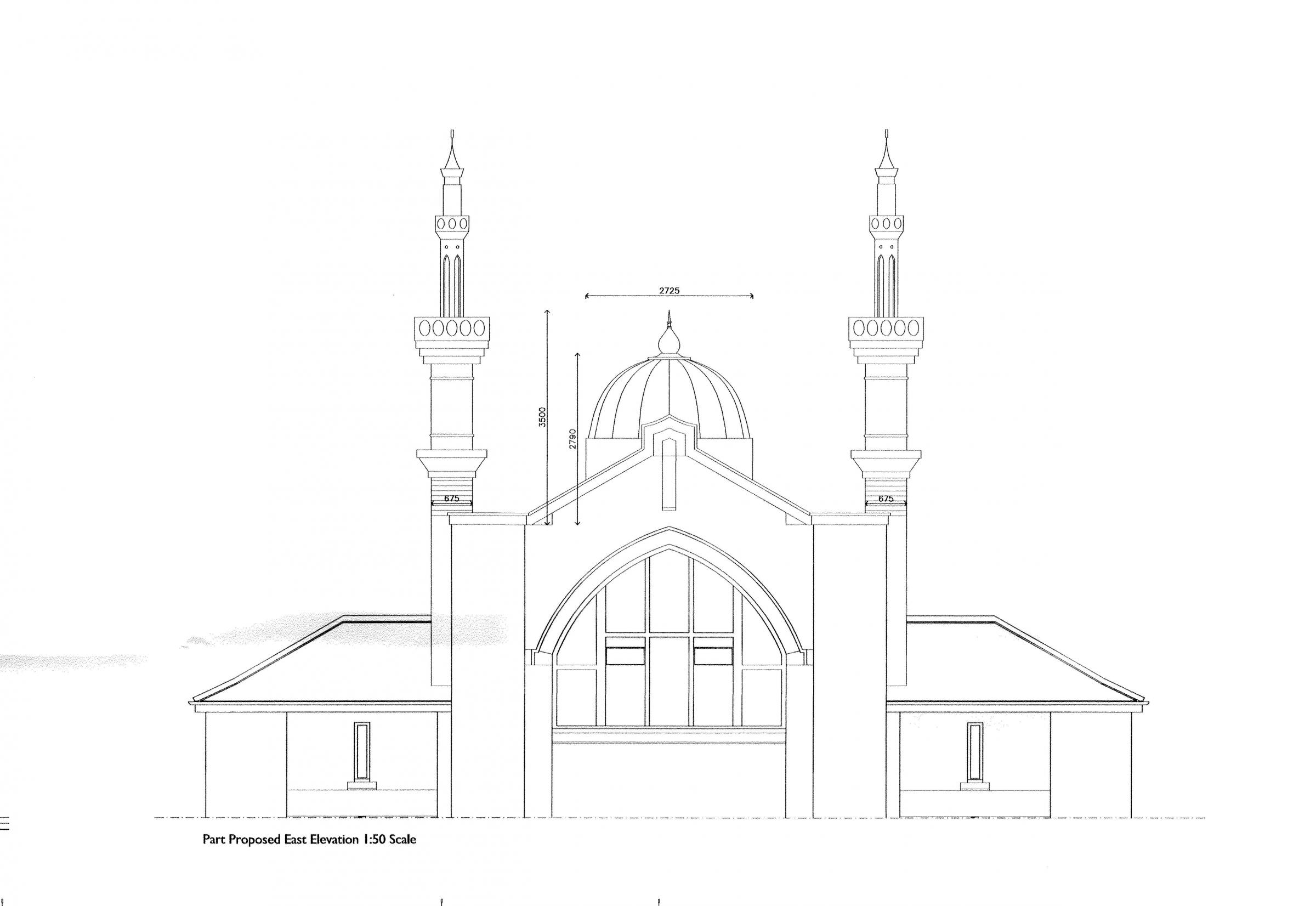 How the minarets and dome would have looked