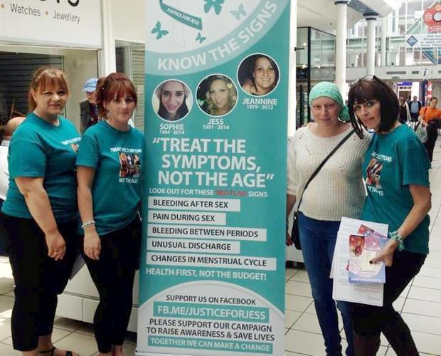 Halesowen News: Cervical cancer campaigners (from left) Cancer survivor Jenny O'Brien, Sam Chatwin,cancer sufferer Laura Clifton and Marie Evans.