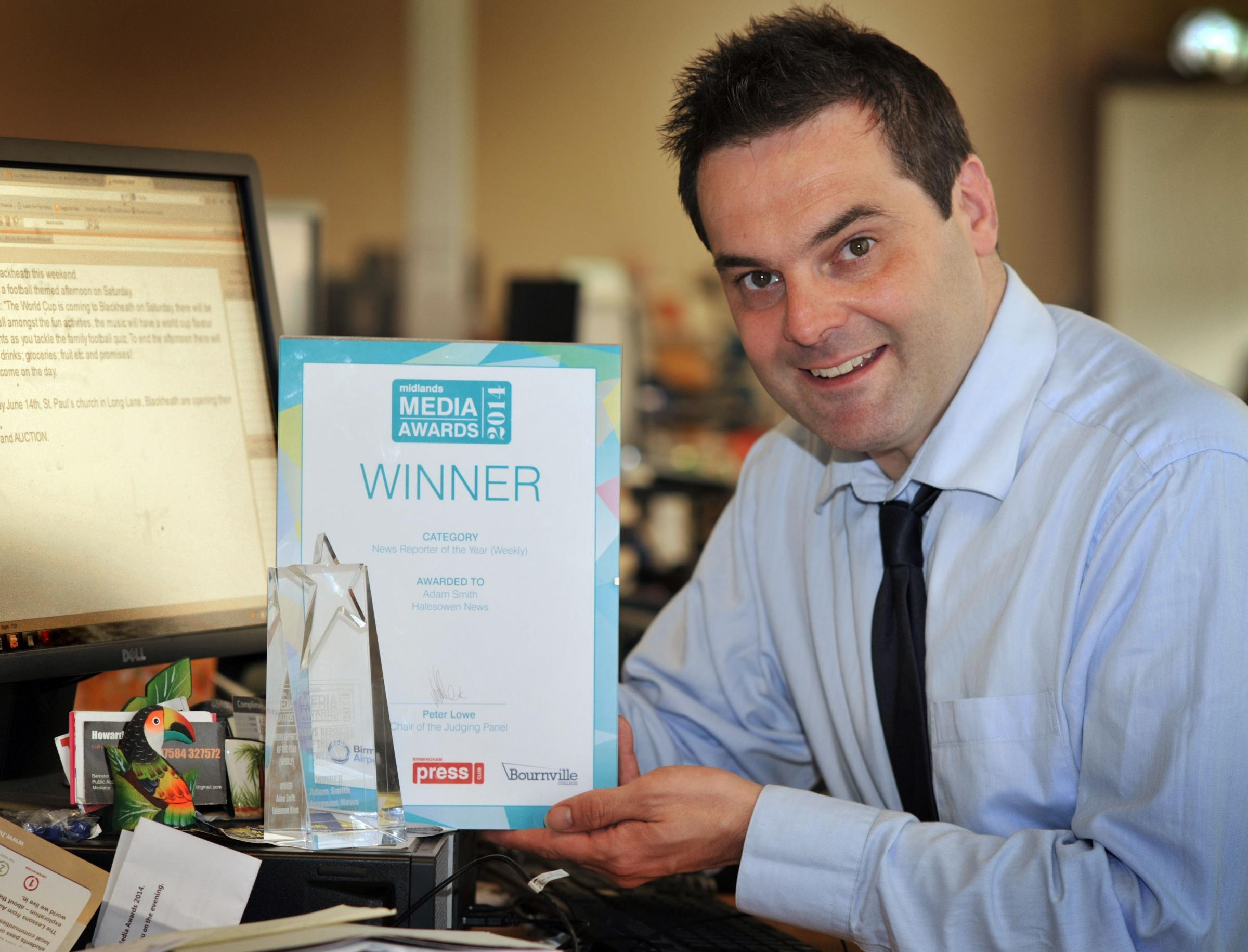 Winner: Midlands Media Awards Weekly Reporter of the Year Adam Smith.