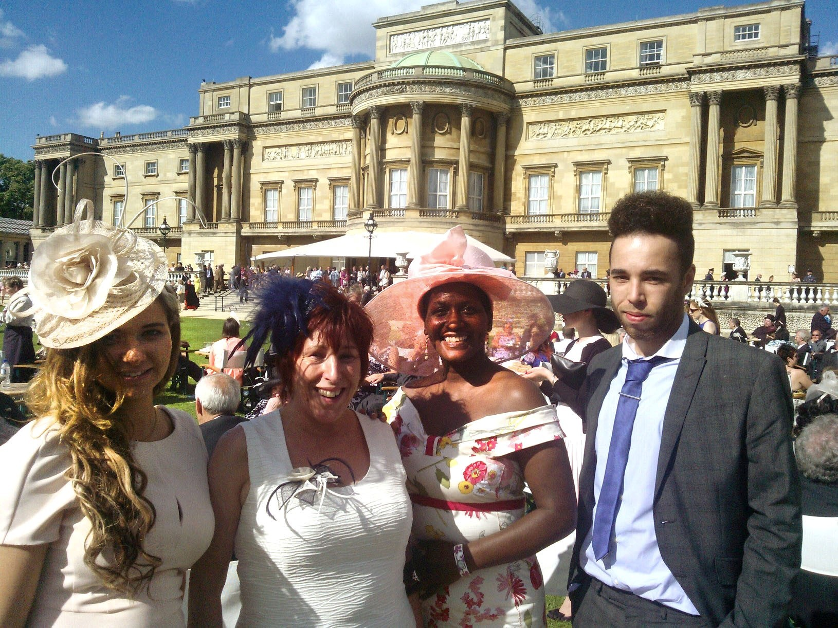 Izzy Noott, Camilla Phillips, Wendy Riley and Kyle Levene from the Hope Centre at Buckingham Palace.