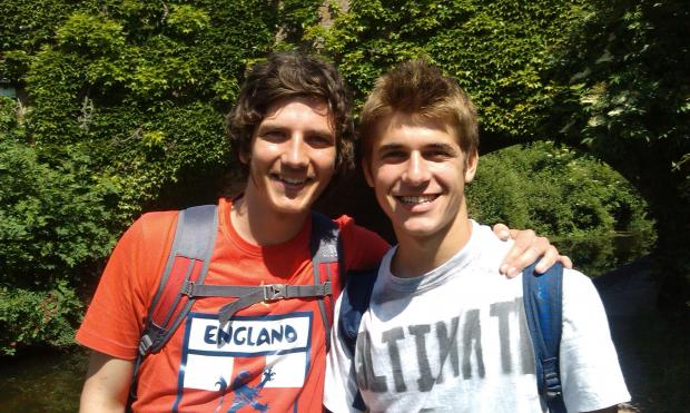 Alex Hills (left) and Roman Christoforou on their Big Walk.