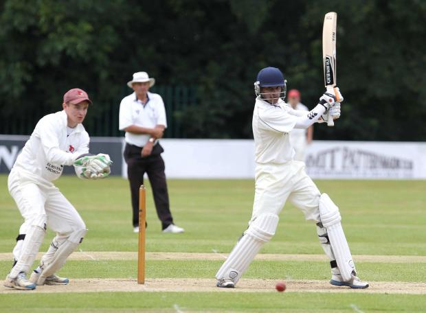 Old HIll batsman Jared Daniels takes on Bromsgrove.