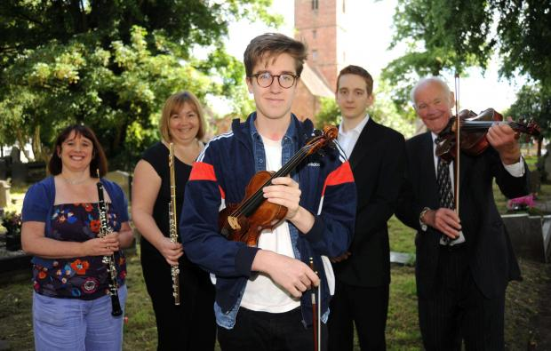 Violinist Roberto Ruisi with Halesowen Orchestra members (from left) Julie Billingham, Andrea Perrett,  conductor Thomas Jarvis and Alan Hughes.
