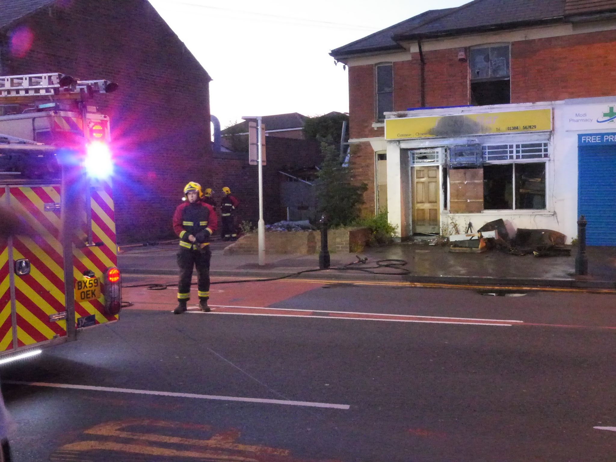 Arson-hit former Lucky Star takeaway in Cradley.