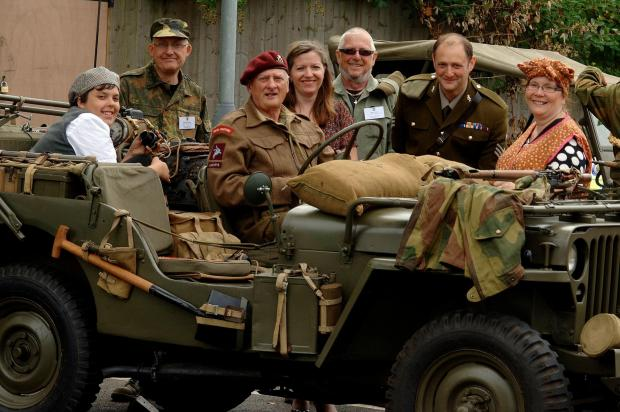 Allo Allo! Student James Gordon, Brian Darby, Mike Law from Black Country at War Displays, Zara Dea, Mick Cox, Arron Runner and Colette Metcalf.
