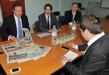 PM David Cameron with James Morris MP being interviewed by Halesowen News reporter Adam Smith