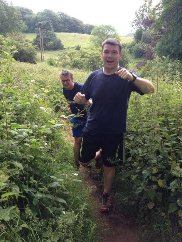 Halesowen News: Richard Peters and Ian Russell prepared for the event by walking through nettles in Clent.