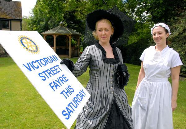 Hannah Oglesby (left) and Lara St Romaine prepare for the Halesowen Victorian Fair.