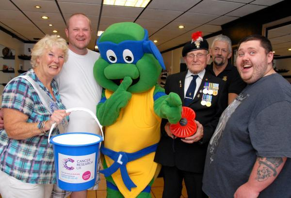 (From left) Cancer Research Uk Wyre Forest committee member Jean Morgan, Adam Ingram, Tonia Lee,  Royal British Legion members Ron Taylor and  Mark Spilsbur