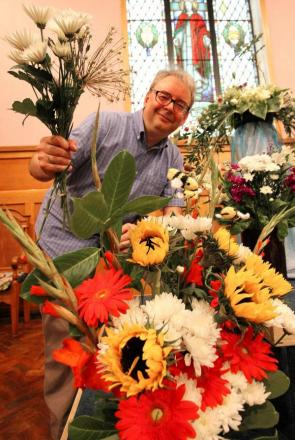 Rev Kerry Birch of Carters Lane Baptist Church at the anniversary flower festival.