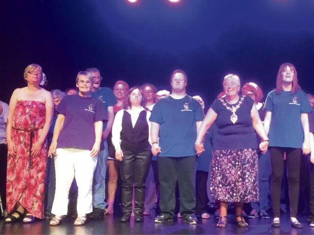 Dudley Mayor Cllr Margaret Aston on stage at the Halas Homes Variety Show.