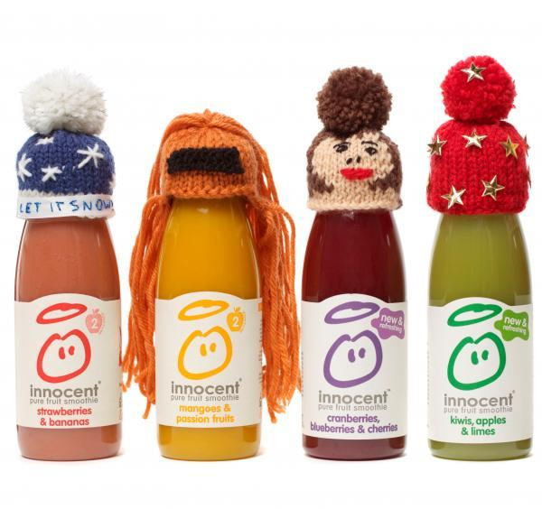 Knitted hats will adord innocent smoothie bottles.