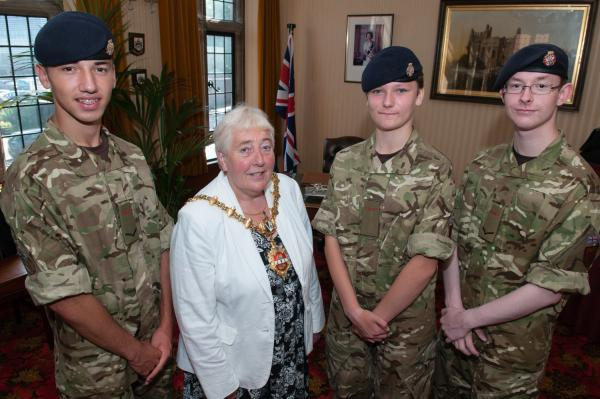 The Mayor of Dudley, Councillor Margaret Aston, with Lance Corporal Saul Yarbasi, Cadet Tiffany Slade and Lance Corporal James Freer.