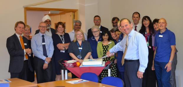 Trust chairman Richard Samuda with the team at Rowley Regis Hospital.