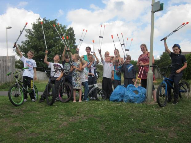 Reclaim the land: Fatherless Barn children helped clear wasteland of rubbish.