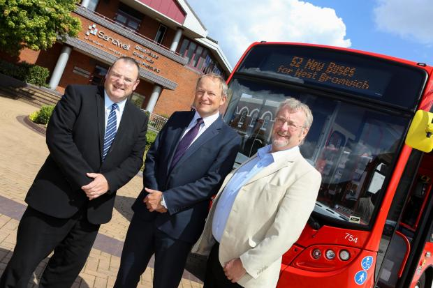 Cllr Darren Cooper of Sandwell Council, left, Peter Coates of NXWM and Cllr John McNicholas at the unveiling of the new buses outside Sandwell Council House in Oldbury.