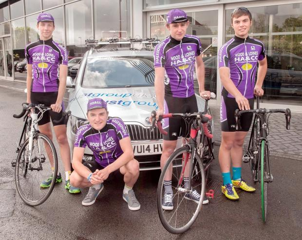 Halesowen Cycling Club members Charles Walker,  Elliott Reynolds, Sam Deighton and Patrick Fotheringham with the new team car ahead of the Tour of Wales.