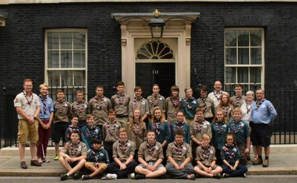 Halesowen Scouts join the West Mercia contingent outside No 10.