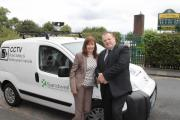 Cllr Maria Crompton,and council leader Cllr Darren Cooper with the camera car.