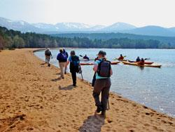 l Striding out: Walkers at Loch Morlich.