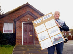 Church leader Les Hardwick with plans for the rebuild.