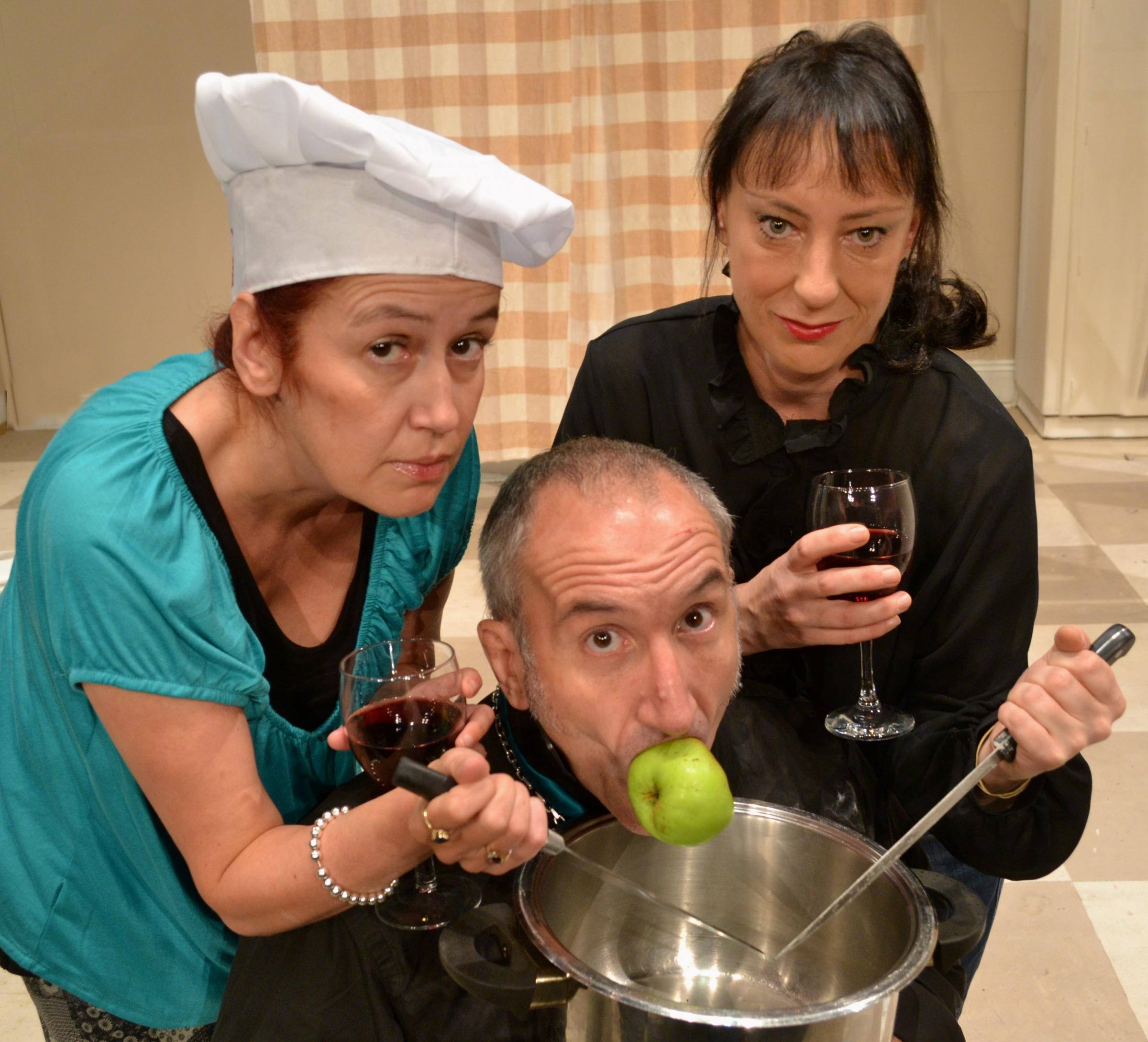 Ready, Steady, Cook! Joanne Hill as Hilary, Rogers Saunders as Kenneth and Dawn Burgess as Laura in The Woman Who Cooked Her Husband