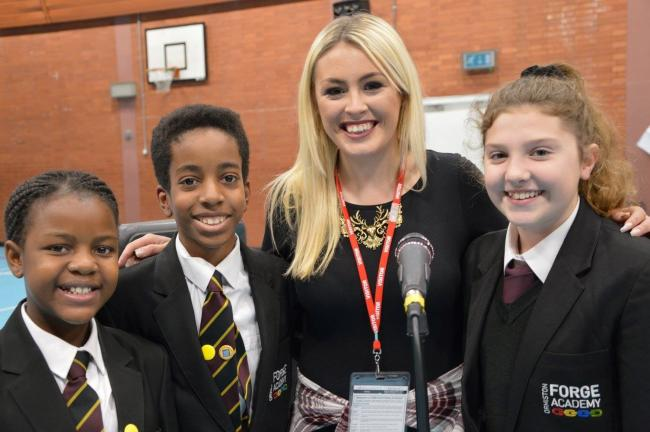 Ormiston Forge students Sharon Shakoane, Ricardo Brown and Danielle Roche with Rhianna Emms