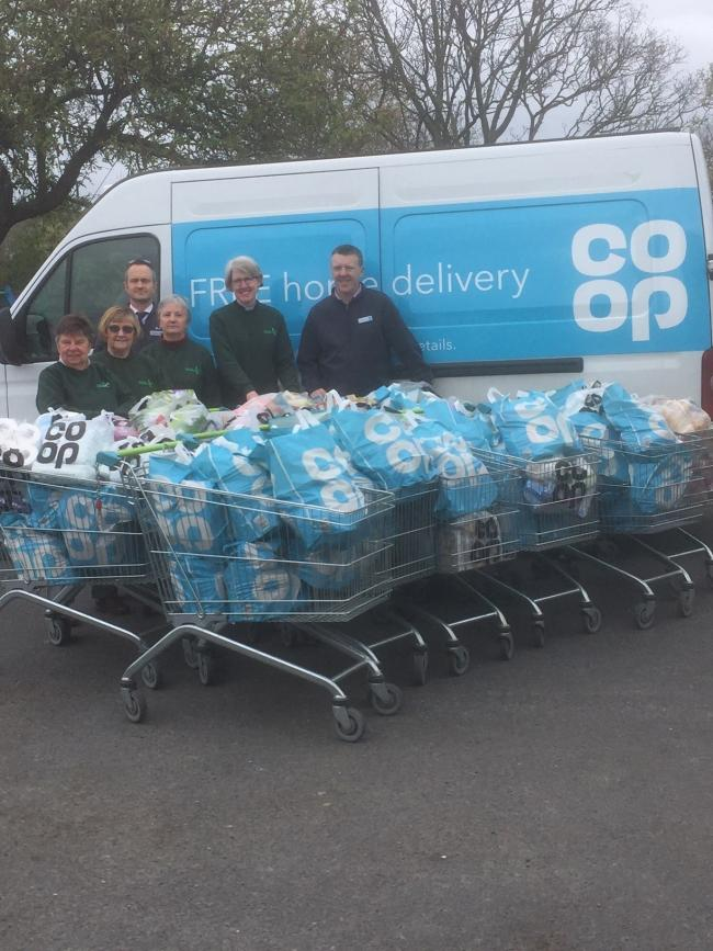 KIND: Lynne Raymer, Lorraine Dawes, Guy Wimhurst, Ann Elliott, Rev Claire Lording and Kevin Pritchard, manager of the Co-op in Pershore who have helped support the foodbank. Photo used with permission.