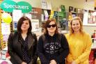Eve Hudson, Chloe Hudson and Louise Williams raised money for Macmillan Cancer Support at Halesowen Specsavers store's coffee morning.