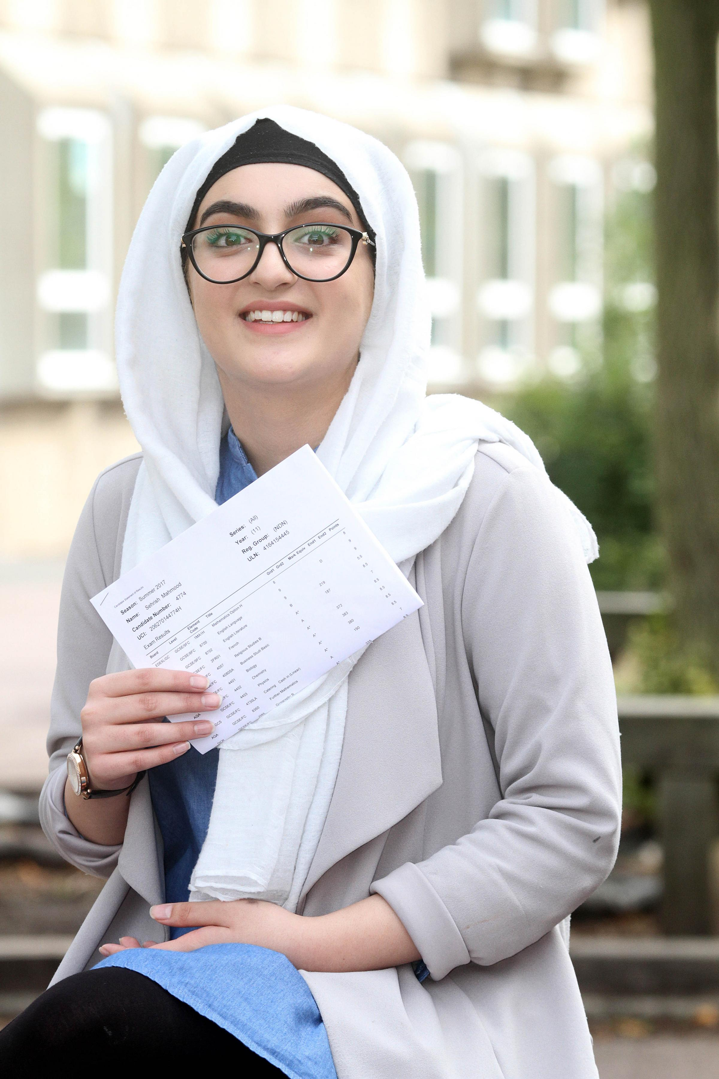 Ormiston Forge Academy student Sehrish Mahmood celebrated achieving a perfect set of new GCSE 'nine' grades.