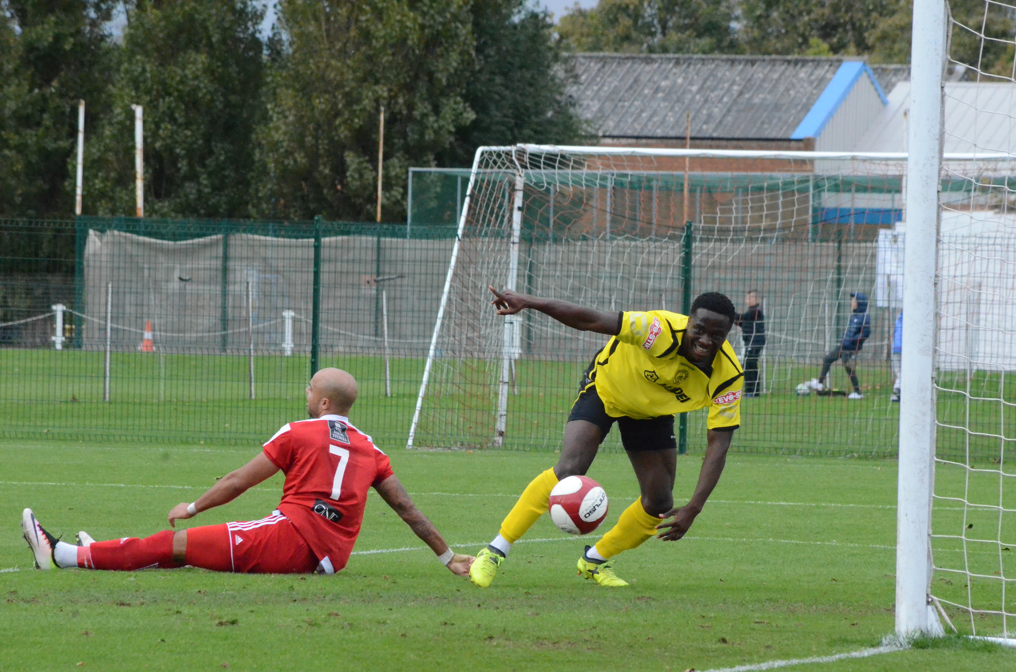 Dan Udoh celebrates his goal against Stourbridge. Photo by CRH Photography