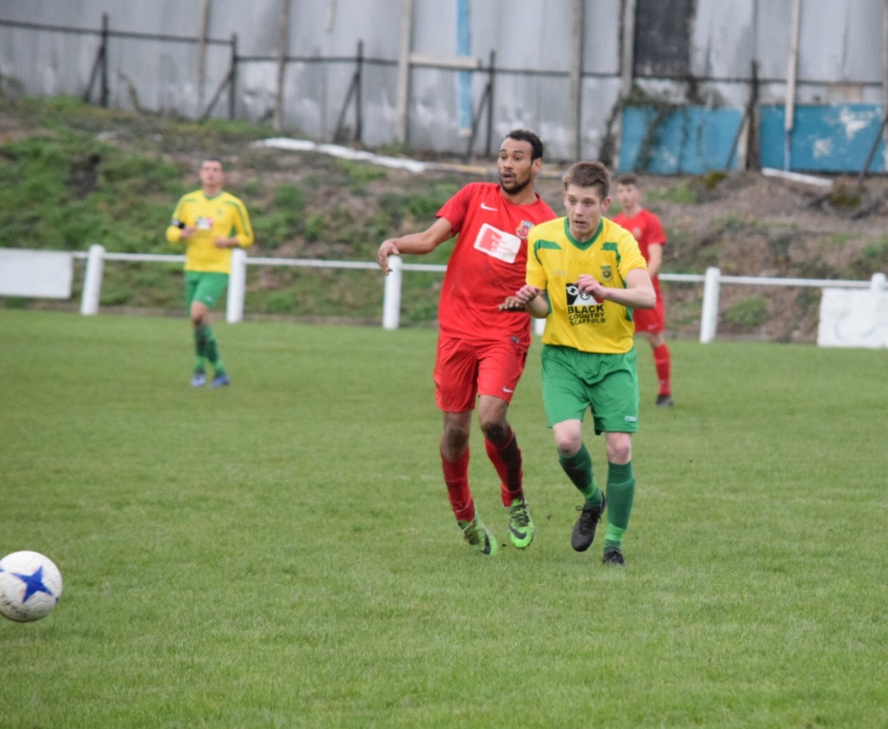 Gornal Athletic's Matt Foster in action against Willenhall. Photo by Leanne Shakespear